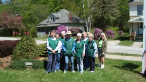 The Ludlow Garden Club each spring weeds and mulches the Museum's planting beds.