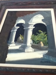 """""""The Arches"""" oil painting by Raymond Howell, part of the West Coast Surrealism movement."""