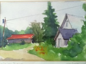 Robert Sydorovich's watercolor of Kalinen's Farm on East Hill, Ludlow.