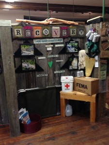 Irene Legacy display which includes a replica of FEMA's rescue boxes.