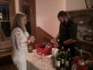 Festivities included wine and other drinks as well as ample appetizers.